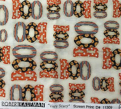 Halloween cotton Robert Kaufman 44 x 36 Very Scary Boo cream unwashed  F121