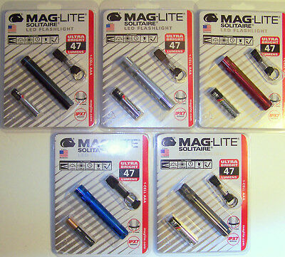 MAGLITE SOLITAIRE LED 47 LUMENS SJ3A016 CHOICE BLACK RED SILVER GRAY BLUE USA Maglite Aaa Solitaire