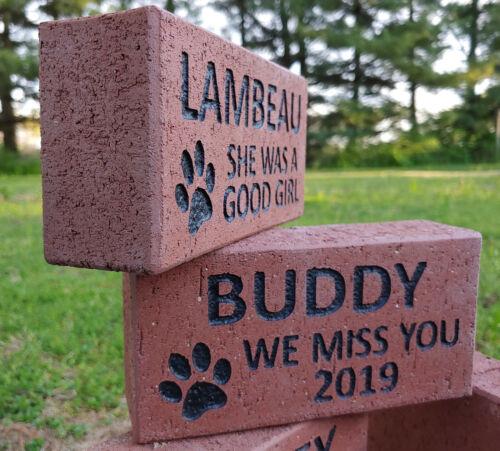 Personalized PET MEMORIAL STONE Engraved Custom Dog Cat Paw Paver Brick Memory