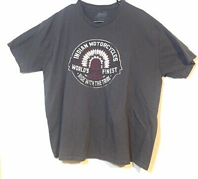 Indian Motorcycles World's Finest Big Chief Ride with Tribe Men's T Shirt 2XL