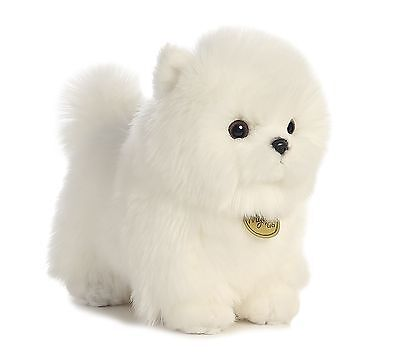 AURORA MIYONI Stuffed Plush Toy POMERANIAN POMPOM Animal PUPPY DOG Cream White (Cream Dog Stuffed Toy)