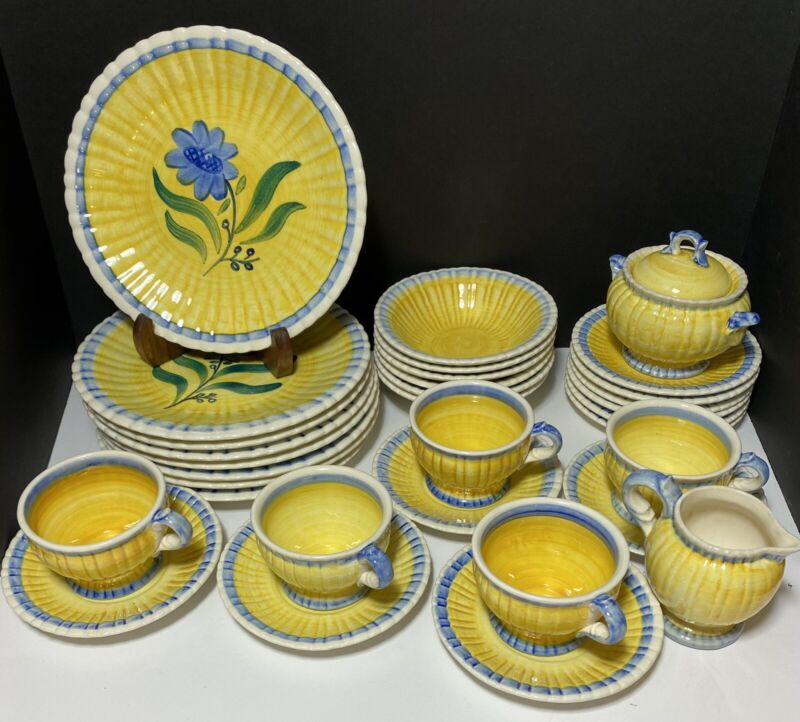 Stangl Vintage 36 Piece RARE Blue Bell Hand Painted Pottery Dinnerware