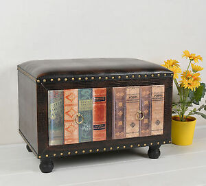 hocker stuhl vintage buch look polsterhocker shabby design kommode sessel neu ebay. Black Bedroom Furniture Sets. Home Design Ideas