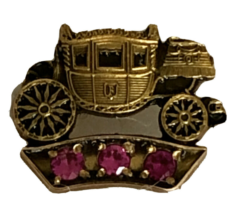 Vtg General Motors Fisher Body 10k Gold Service Pin Stage Coach Tie Tack Ruby