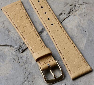 (European vintage watch strap pigskin grain Leather 19mm great texture & tapered)