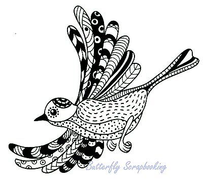 ZENTANGLE BIRD Stamp Clear Unmounted Rubber Stamp Joy! Crafts 6410/0346 New