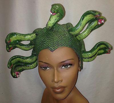 Medusa Green Latex Snake Headpiece Mythical Hat (Latex Hat)