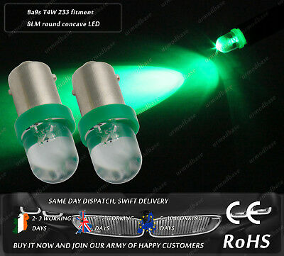 LED 233 T4W BA9S Green Sidelights Parking Side Light Interior Dome Bulbs 12v for sale  Ireland