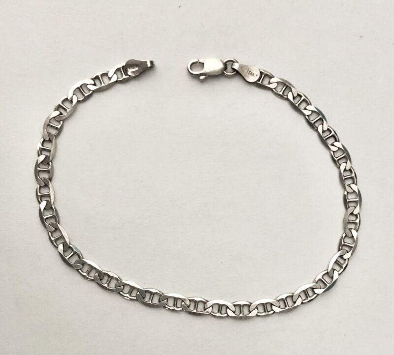 """Vintage Sterling Silver Mariner Anchor Link Bracelet 8"""""""