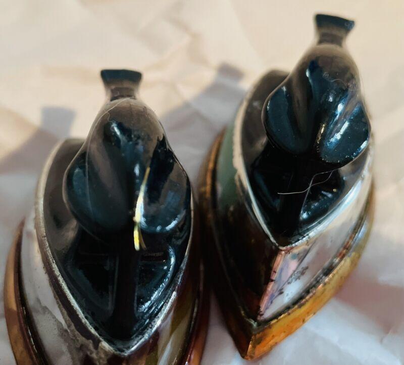 Vintage Plastic Steam Iron Salt & Pepper Shakers Kitschy Kool MCM Kitchen