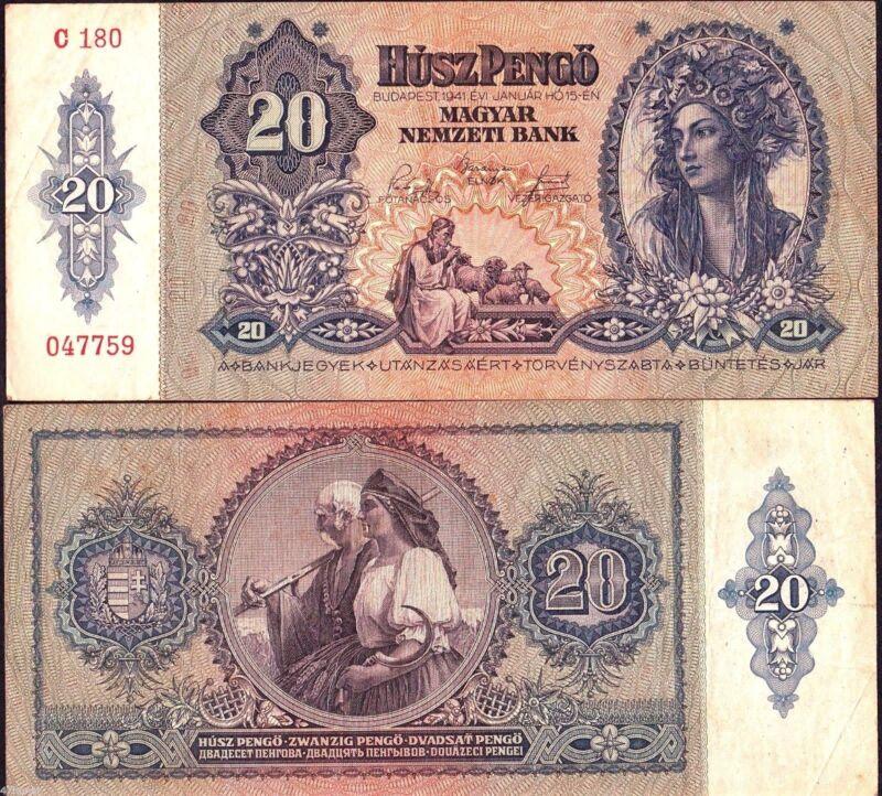 Hungary P-109 20 Pengo Year 1941 Circulated Banknote Europe