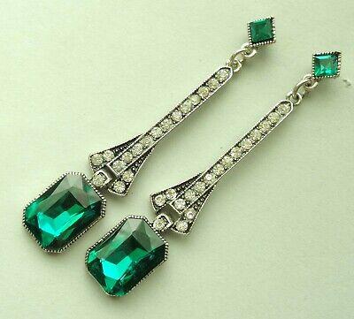 Art Deco Revival Earrings Emerald Green Rhinestone Jazz Age Drops Art Deco Rhinestone Earrings