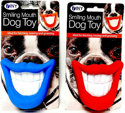 Smiling Mouth Squeaky Dog Toy Chew Novelty Gift Pet Toys Funny Blue or Red NEW  Chew Toys Dog Squeaky Toy