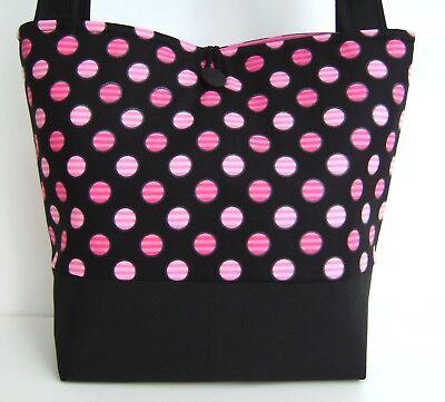 Fashion Polka Dot Tote - HOT PINK BLACK POLKA DOT HANDBAG PURSE TOTE BAG POCKETBOOK RETRO MOD FASHION