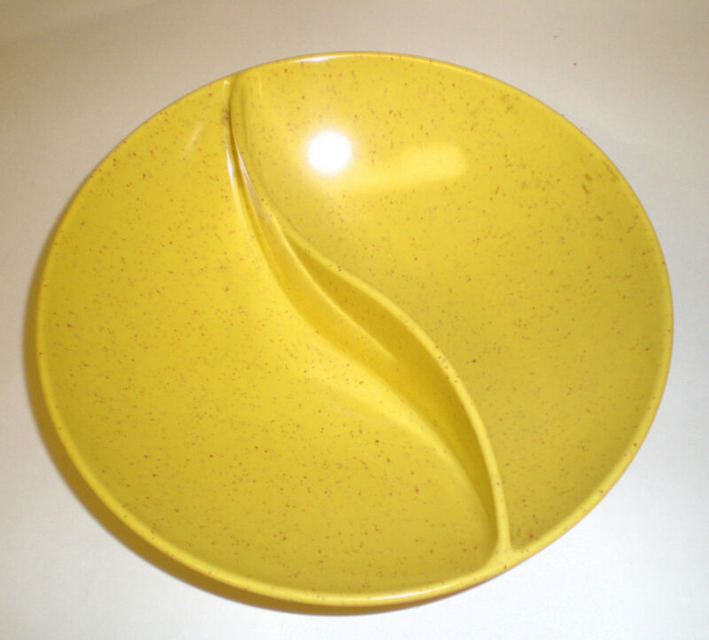 VTG 60s Holiday Bowl Kenro Yellow Brown Fleck Divided Melmac Melamine Plastic