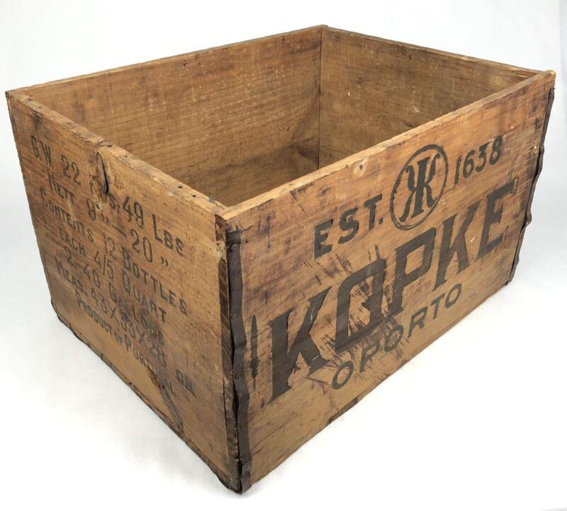 Vintage KOPKE OPORTO Tawny Port Wine PORTUGAL 12 Bottle Shipping WOOD CRATE Box