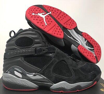 NIKE AIR JORDAN 8 RETRO BLACK-GYM RED-WOLF GREY 11.5 (Jordan 8 Black Gym Red Black Wolf Grey)