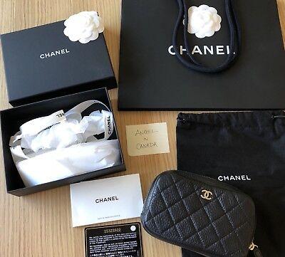 CHANEL BLACK CAVIAR LEATHER O-CASE POUCH BAG PHONE PURSE CLUTCH GOLD GHW