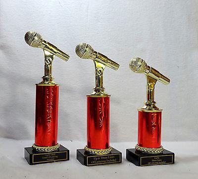 MICROPHONE TROPHY MUSIC  BLACK MARBLE BASE SET OF THREE  #7 KARAOKE 4 COLORS  - Microphone Trophies