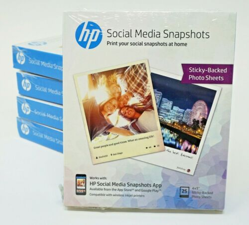 """HP Social Media Snapshots 25 4"""" x 5"""" Sticky-Backed Photo Sheets (Pack of 5) 125"""