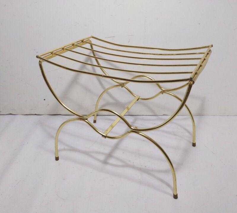 Vintage Gold Metal Vanity Stool Footstool Ottoman Hollywood Regency Mid Century