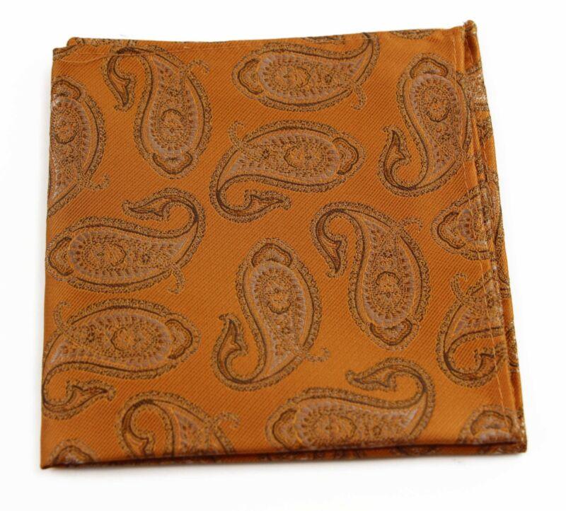 Mens Orange & Brown Paisley Silk Pocket Square