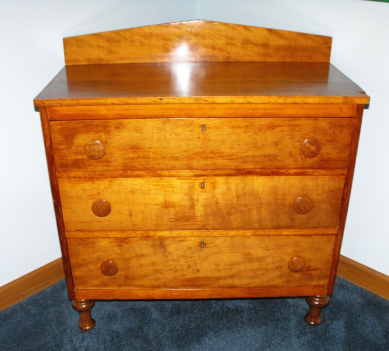 Antique Solid Cherry 3-Drawer Chest of Drawers from Early 1800