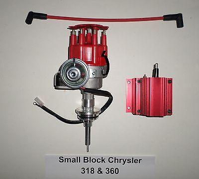 Chrysler Small Block 273-318-340-360 Red SMALL CAP HEI Distributor & 50K V Coil