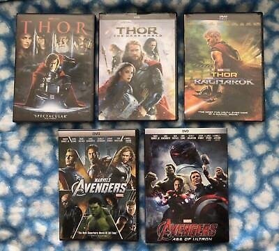 Thor Trilogy  Thor  Dark World    Ragnarok    Avengers 1   2 Bundle 5 Dvd Set