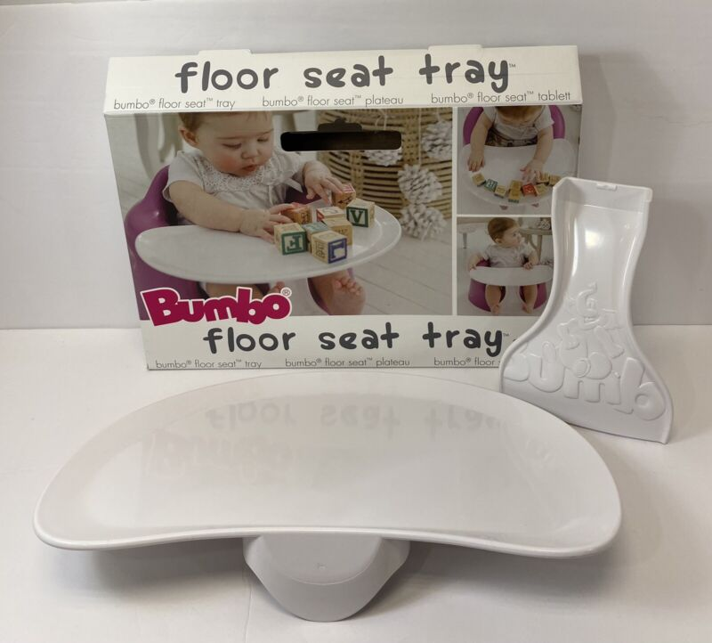 Bumbo Seat Eat Play Tray for Baby Toddler Feeding Portable Lightweight White.