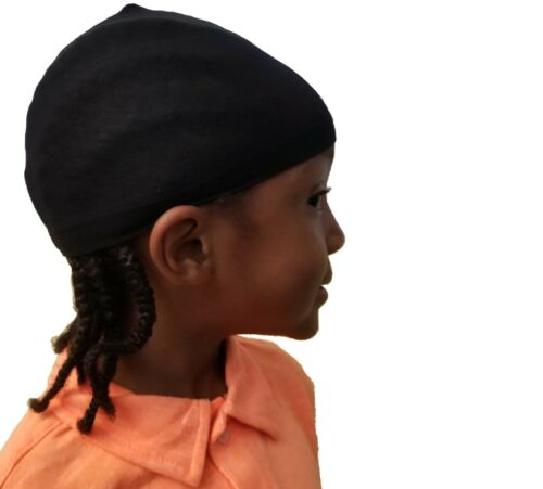 4 pcs Kids Du-Rag Black Stocking Wave Braids Cap Durag Dome