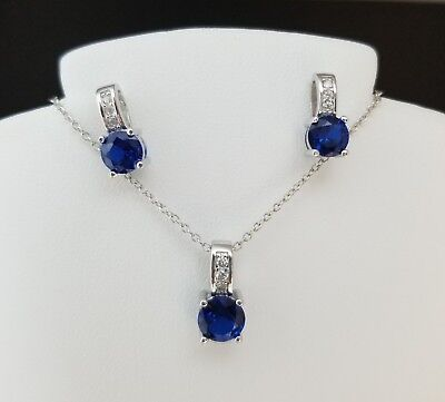 925 Sterling Silver Round Blue Sapphire Pendant Necklace Stud Earrings Set