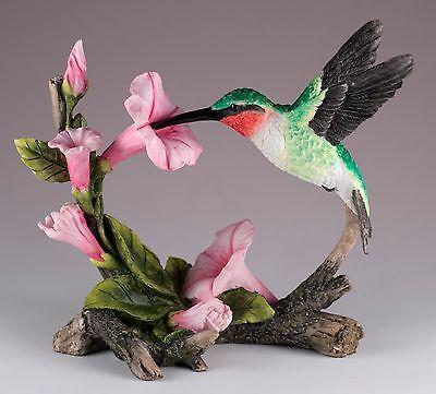 "Ruby Throated Hummingbird Bird Figurine 5.5"" Long Highly Detailed New In Box"