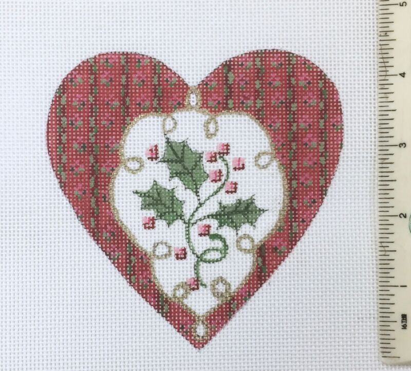 Susan Roberts Hand painted Needlepoint Canvas Holly Heart Christmas ornament