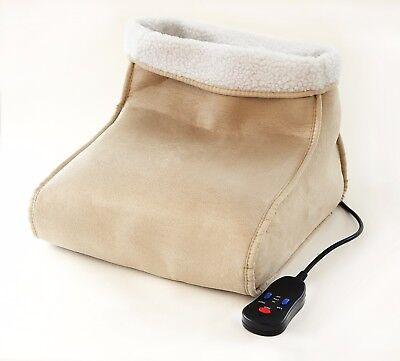 Foot Massager Feet Warmer Electric Beige Heated Comfort Fleece Suede Washable