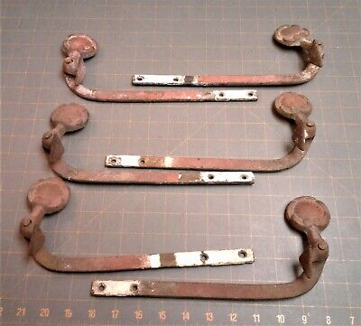 3 Pairs Antique Cast Iron Bar Shutter Dogs Clam Shell Federal Style