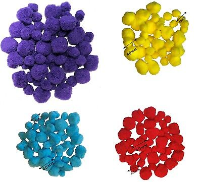 Poms Packs Fluffy Craft Pompoms colours Red Yellow Blue Mixed Animal And Tinsel (Red And Blue Pom Poms)