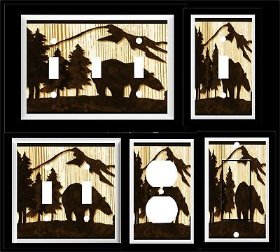 BEAR PINE TREE MOUNTAIN SILHOUETTE LIGHT SWITCH COVER PLATE  RUSTIC CABIN DECOR ()