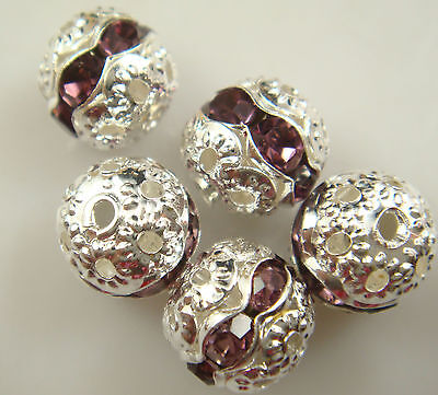 8mm 5pcs Czech champagne Crystal Rhinestone Silver Rondelle Spacer Beads s1m