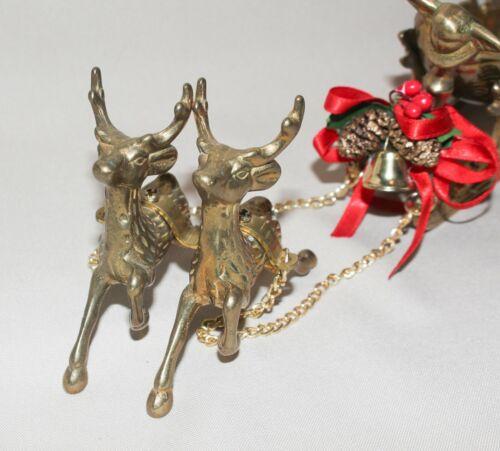 "Vintage Brass Sleigh & Deer 3pc Candy Dish 5 ½"" Long Sleigh Taiwan"