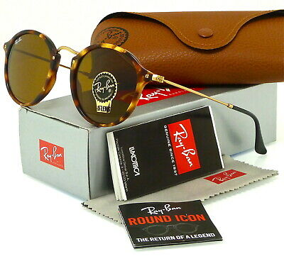 RAY-BAN ROUND FLECK RB2447 1160 49MM TORTOISE-GOLD / BROWN CLASSIC (Ray Ban 49mm)