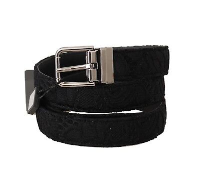 DOLCE & GABBANA Belt Black Lace Leather SIlver Buckle s. 90cm /36in RRP $350