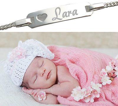 Baby Armkette Armband Wunsch Gravur Name oder Geburt Echt silber 925 Taufe