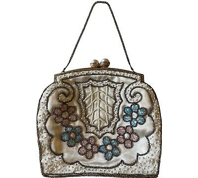 1920s Handbags, Purses, and Shopping Bag Styles French 1920s Silk Satin Petit Small Beaded Pearl Closure Flowers Floral Motif $174.07 AT vintagedancer.com