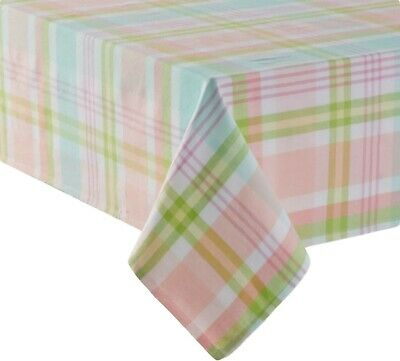 Celebrate Easter Plaid Spring Pastel Tablecloth Oblong 60 in. x 102 in.