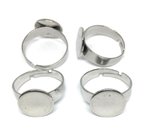 12mm pad hypoallergenic stainless steel ring blanks adjustable size 6.5 US
