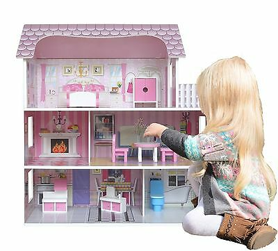 Bebe Style Large Kids Girls Victorian Mansion Wooden Doll House & Furniture  NEW