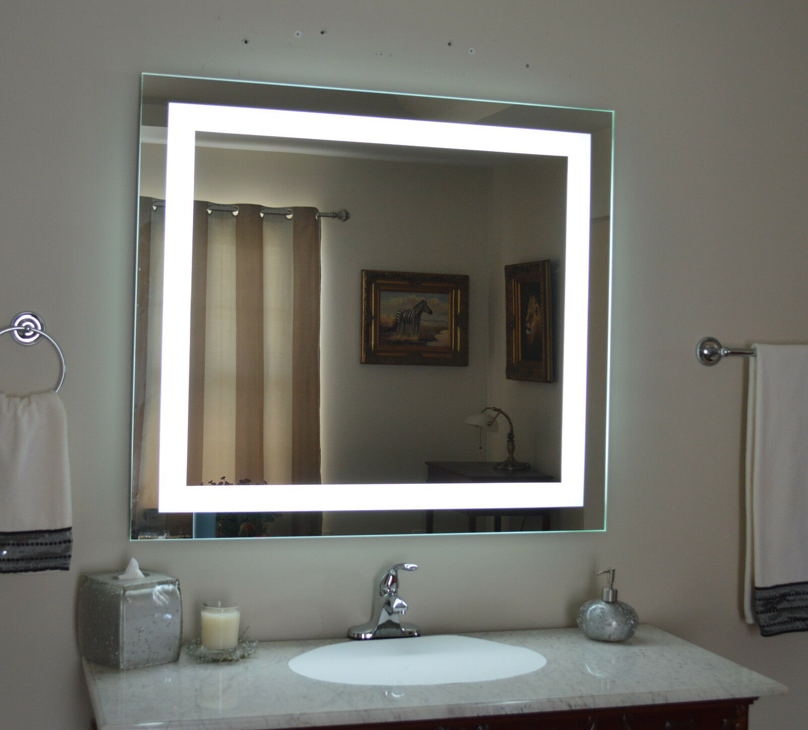 Lighted bathroom vanity mirror led wall mounted 48 - Bathroom vanity mirror side lights ...