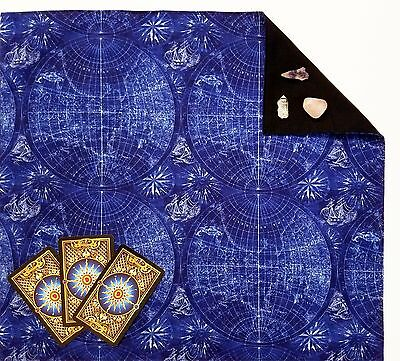 Blue Voyager Tarot Cloth or Altar Cloth 18x20 Runes Spread