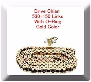 With O-Ring Drive Chain Gold Color Pitch 530x150 Links For Honda Kawazaki Suzuki